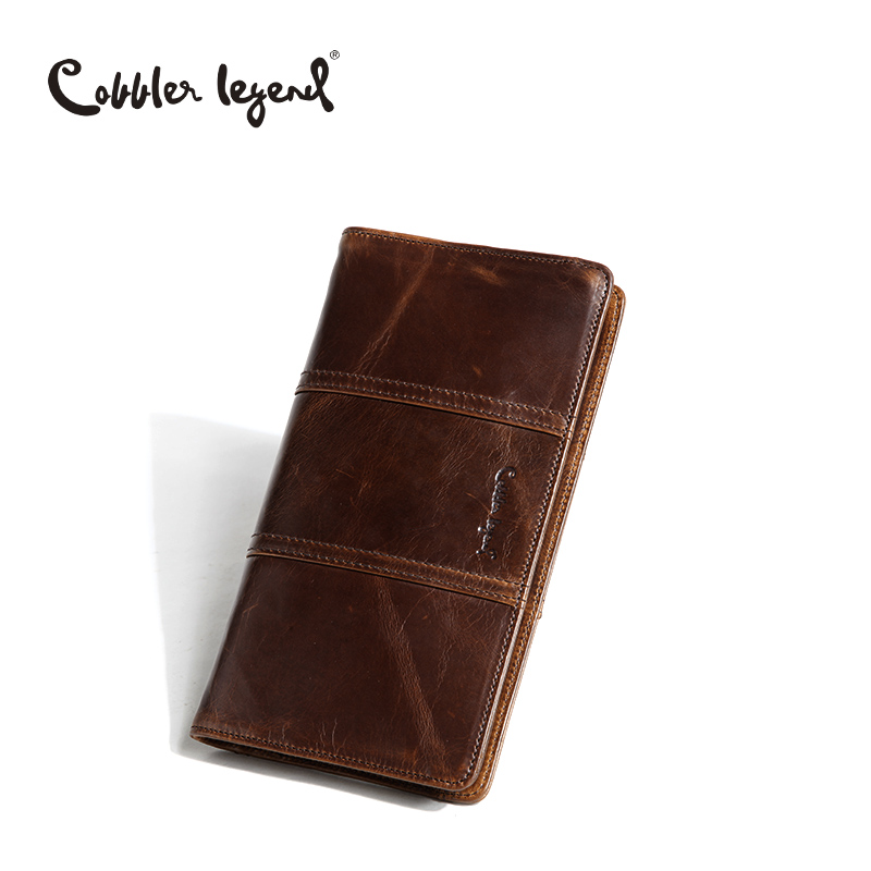 Cobbler Legend 2016 New Small Wristlet Bag Business Hand Bag For Men Clutch Bags Genuine Leather Long Wallet Luxury Male Wallets brand double zipper genuine leather men wallets with phone bag vintage long clutch male purses large capacity new men s wallets