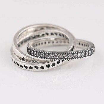 068ed6545a10 Auténtica Plata de Ley 925 anillo de enclavamiento círculo corazón anillo  con cristal para mujer regalo de fiesta de boda bien la joyería de Pandora