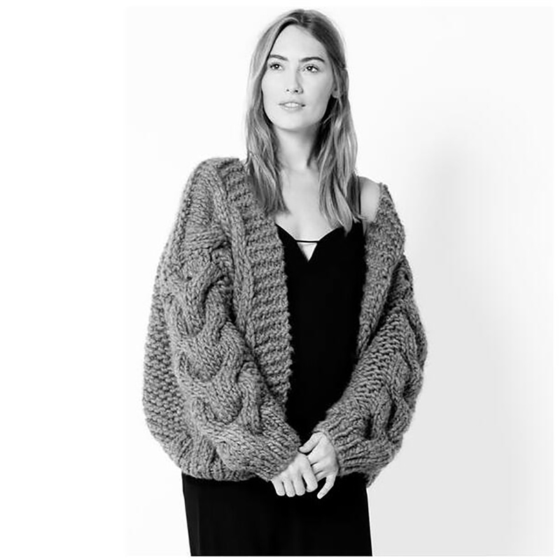 2018 Autumn and Winter Women Coarse wool Thick and Warm Cardigan Sweater Streetwear female Handmade Crochet