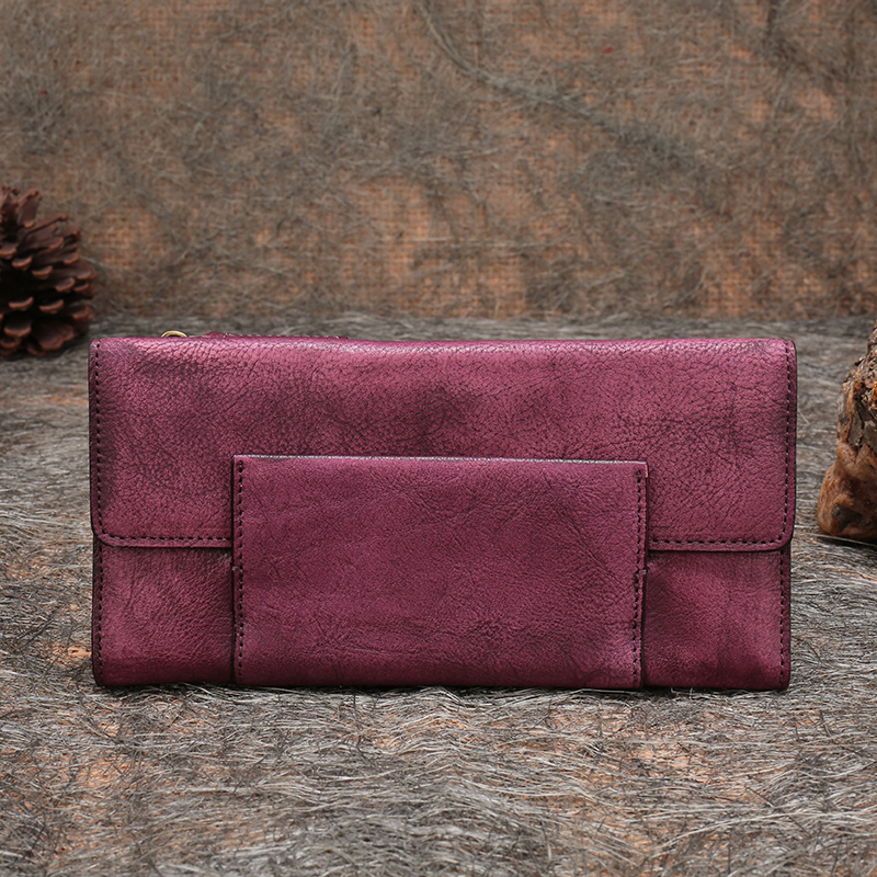 Original Design Genuine Leather Women Wallets Vintage Ladies Clutch Purse Handmade cowhide Card Holder Fold Wallet Women Purse luxury brand design vintage handmade genuine vegetable tanned cowhide leather women holder wallets purse zipper clutch bag