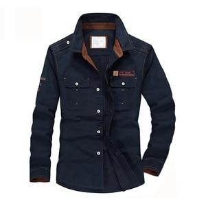 Image 4 - Plus Size S XXXXL 5XL Brand 100% Cotton Long Sleeve Denim Shirts Men Army Green Militray Casual Camiseta Masculina A3056
