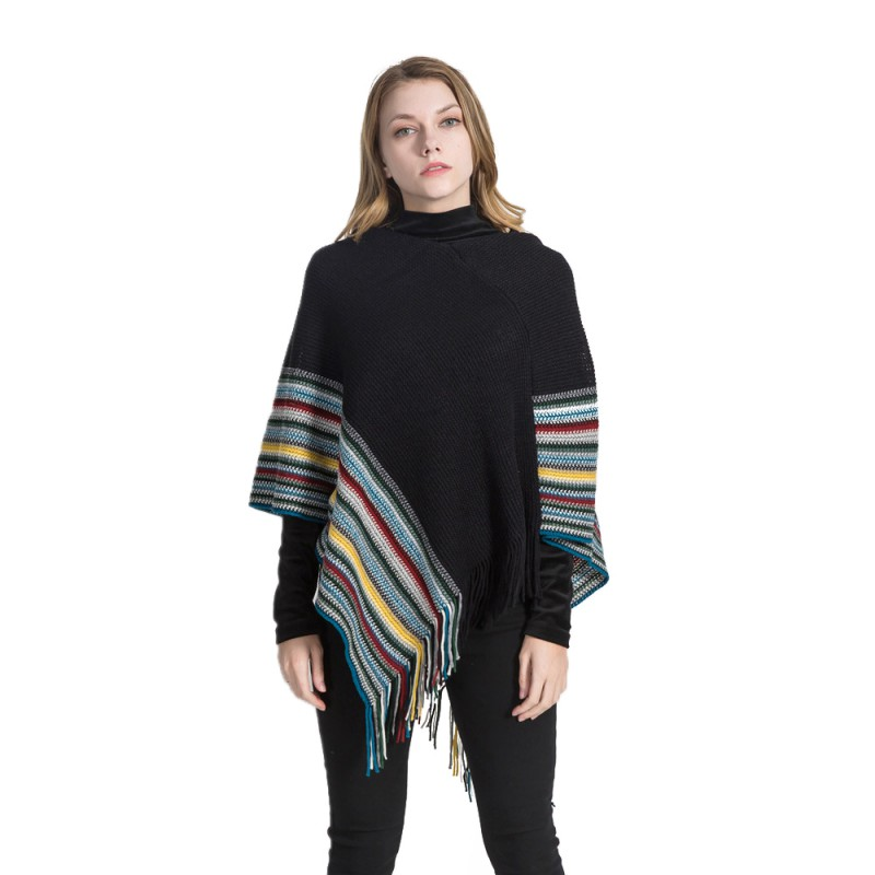 Sweaters Women Winter Sweater Sexy Plus Size Warm Autumn Outwear Stripe Stitching Tassel Pullover Cashmere Shawl Female Tops Hot Sale New Cardigans