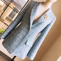 [No badge] 2019 Spring Autumn Women Brand Blue Plaid Shawl Collar Blazers Coats One Button Female Elegant Tweed Blazer Y288