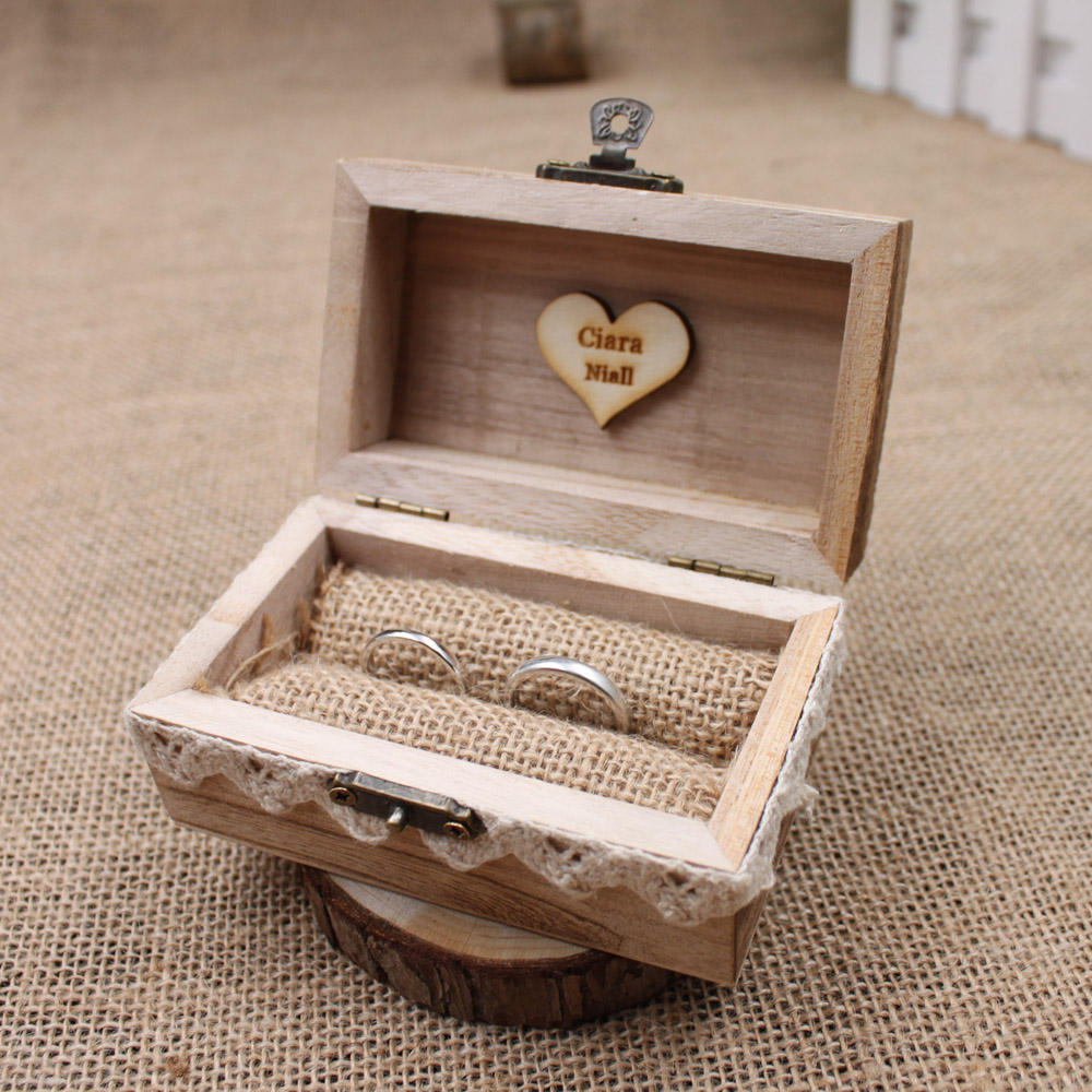 Rustic wedding ring box holder custom ring box for Cute engagement ring boxes