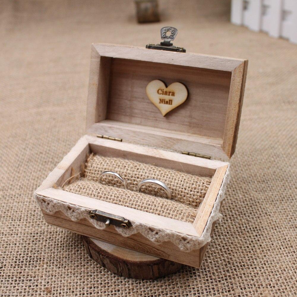 US $3.73 3% OFFRustikale Hochzeit Ring Box Halter, Nach Ring Box,  Personalisierte Hochzeit/Valentines Engagement Holz Ring Bearer Boxbox