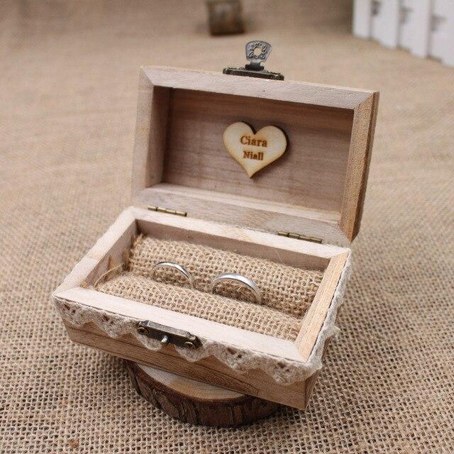 Rustikale Hochzeit Ring Box Halter Benutzerdefinierte Ring Box