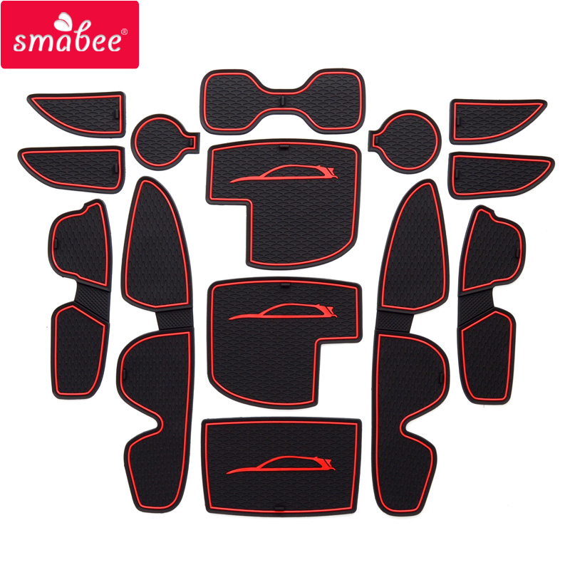 smabee For Hyundai I30 I30 N 2017-2018  Gate slot pad for Interior Accessories Mat Cup Door groove mat