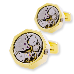 Image 5 - KFLK jewelry shirt cufflink for mens Brand cuff button Gold color watch movement cuff link High Quality abotoadura guests