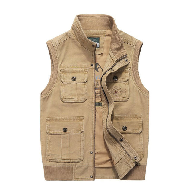 Men's Vest Plus Size 5XL 6XL 7XL 8XL Vest Clothes New 2018 Autumn Sleeveless Jackets Multi Pockets Cotton Waistcoat Stand Collar