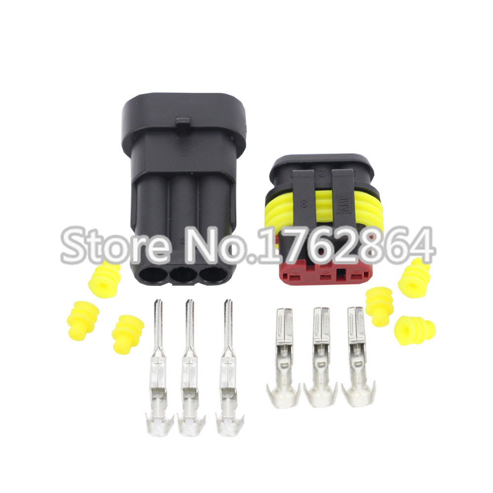 50Sets 3 Pin AMP 1.5 Connectors DJ7031-1.5-11/21 Waterproof Electrical Wire Connector,Xenon lamp connector Automobile Connectors black 50 sets 4 pin dj3041y 1 6 11 21 deutsch connectors dt04 4p dt06 4s automobile waterproof wire electrical connector plug