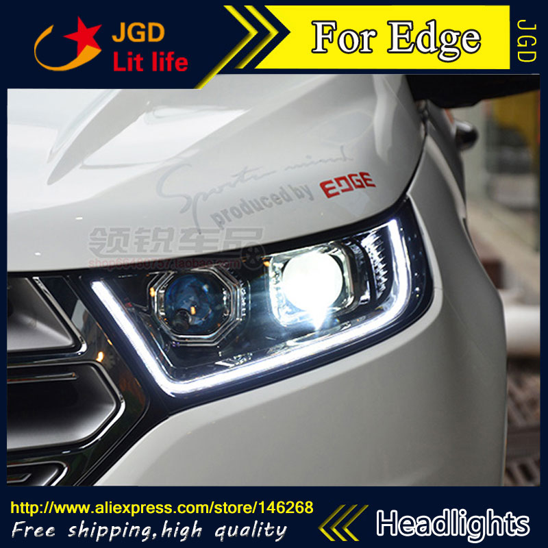 Free shipping ! Car styling LED HID Rio LED headlights Head Lamp case for Edge 2016 Bi-Xenon Lens low beam for volkswagen polo mk5 vento cross polo led head lamp headlights 2010 2014 year r8 style sn