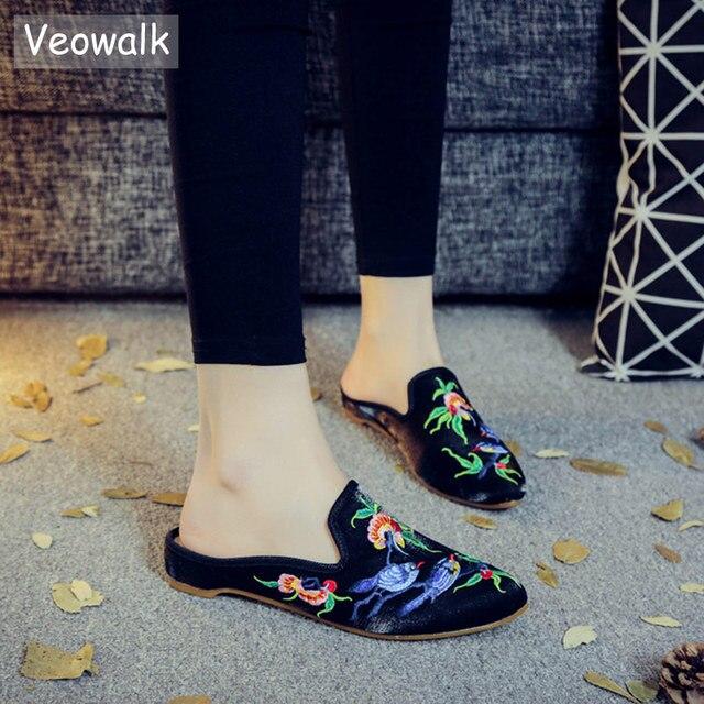 Veowalk/Брендовые женские тапочки из мягкой хлопковой ткани с вышивкой и острым носком, летние женские шлепанцы в стиле ретро, удобная обувь с в...