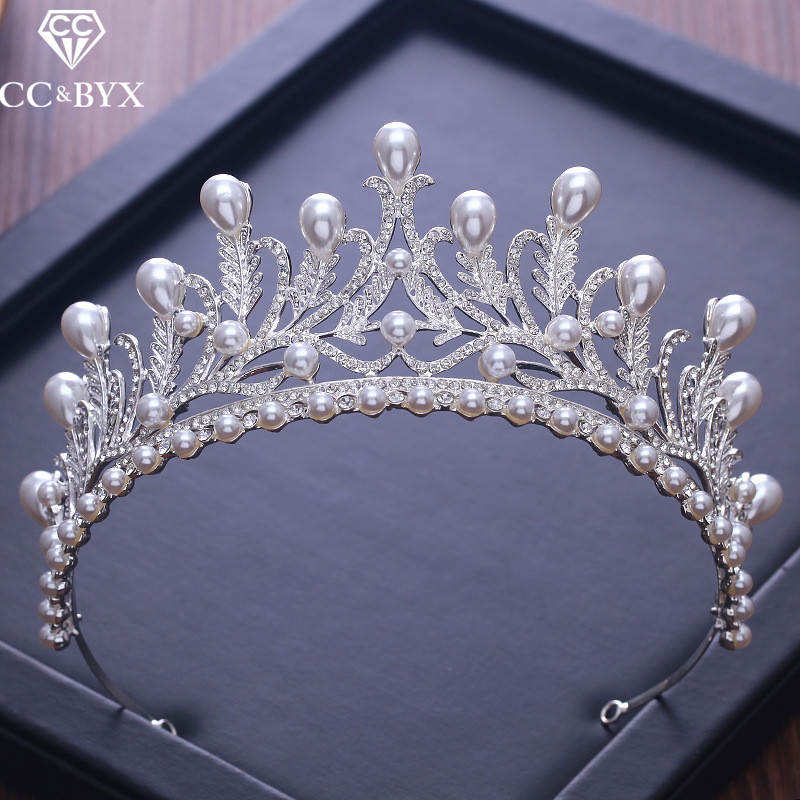 CC Tiaras And Crowns Luxury CZ Pearl Princess Pageant Engagement Wedding Hair Accessories For Bridal Jewelry Shine Crystal XY058