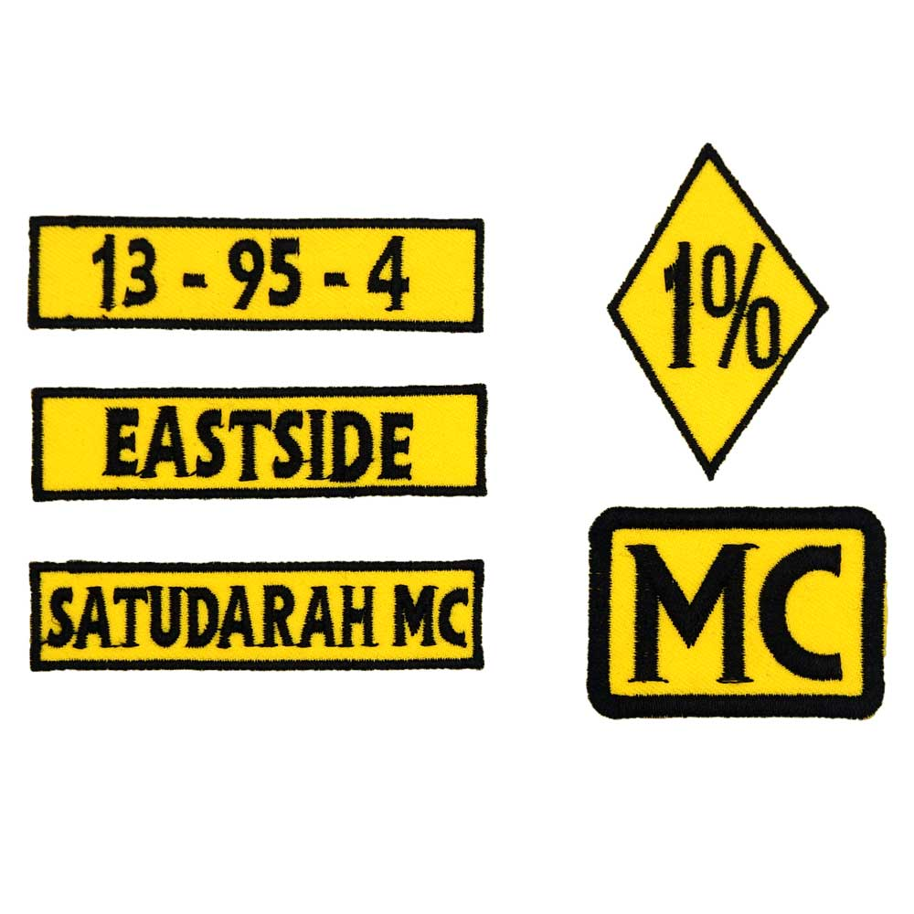 SATUDARAH <font><b>mc</b></font> <font><b>1</b></font>% name tags <font><b>patch</b></font> Embroidered IRON ON BACKING image