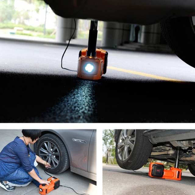 12V 5Ton Car Jack Tire Jack Electric Hydraulic Jack Lifting Jack Auto Lift Car lift Tire Inflator Flashlight Safe Hammer 3 in 1 3