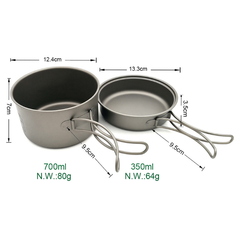 Nouvelle vente casseroles en titane bols avec poignée pliante cuisinière Camping randonnée pique-nique ustensiles de cuisine avec cuillère en titane - 6