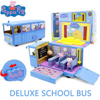 Genuine Peppa Pig Deluxe chool bus can change = classroom Peppa Suzy Antelope teacher Anime Children Birthday Christmas Gift toy