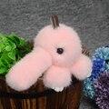 Visón de Piel De Conejo Llavero Lindo Conejo Muñeca Bolso Del Teléfono Llaveros colgante Billetera de Piel de Conejo Pom Pom Colgante Coche con el Regalo de las mujeres