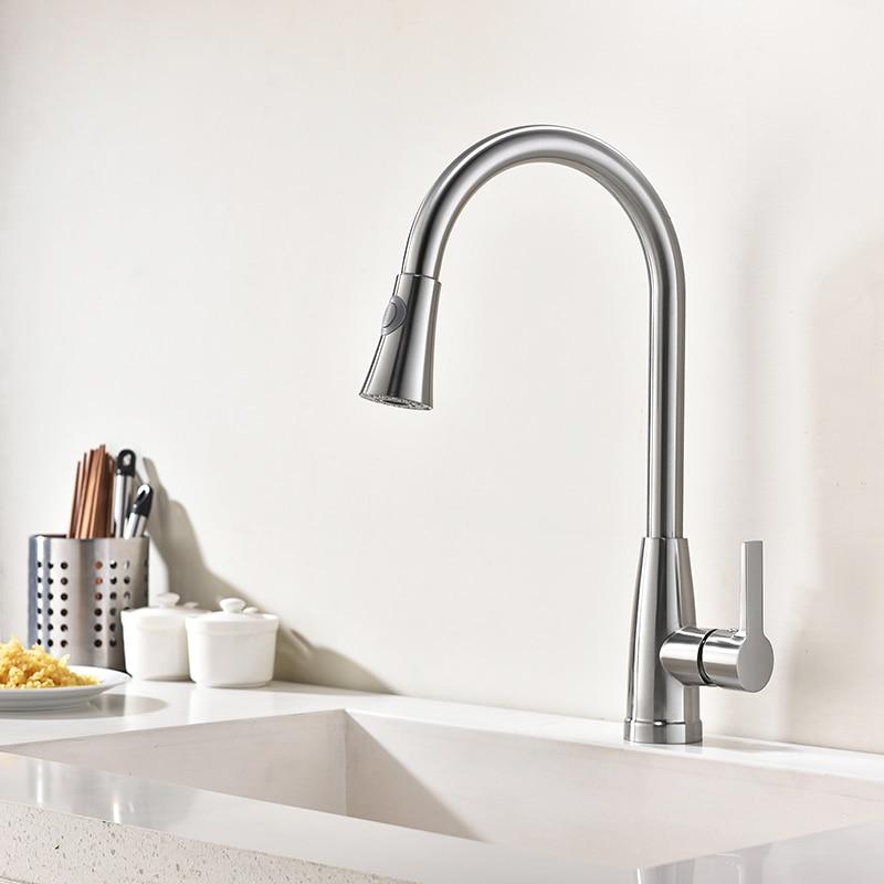 KINSE Modernen Leuchtenden Gebürstet Pull Down Küche Wasserhahn ...