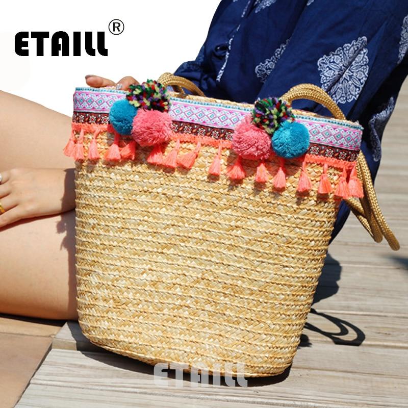2017 Cute Balls Pink Tassel Women's Straw Bucket Bag Summer Ladies Woven Straw Beach Bag Handmade Bamboo Knitting Rattan Bag black drawstring bucket woven beach bag