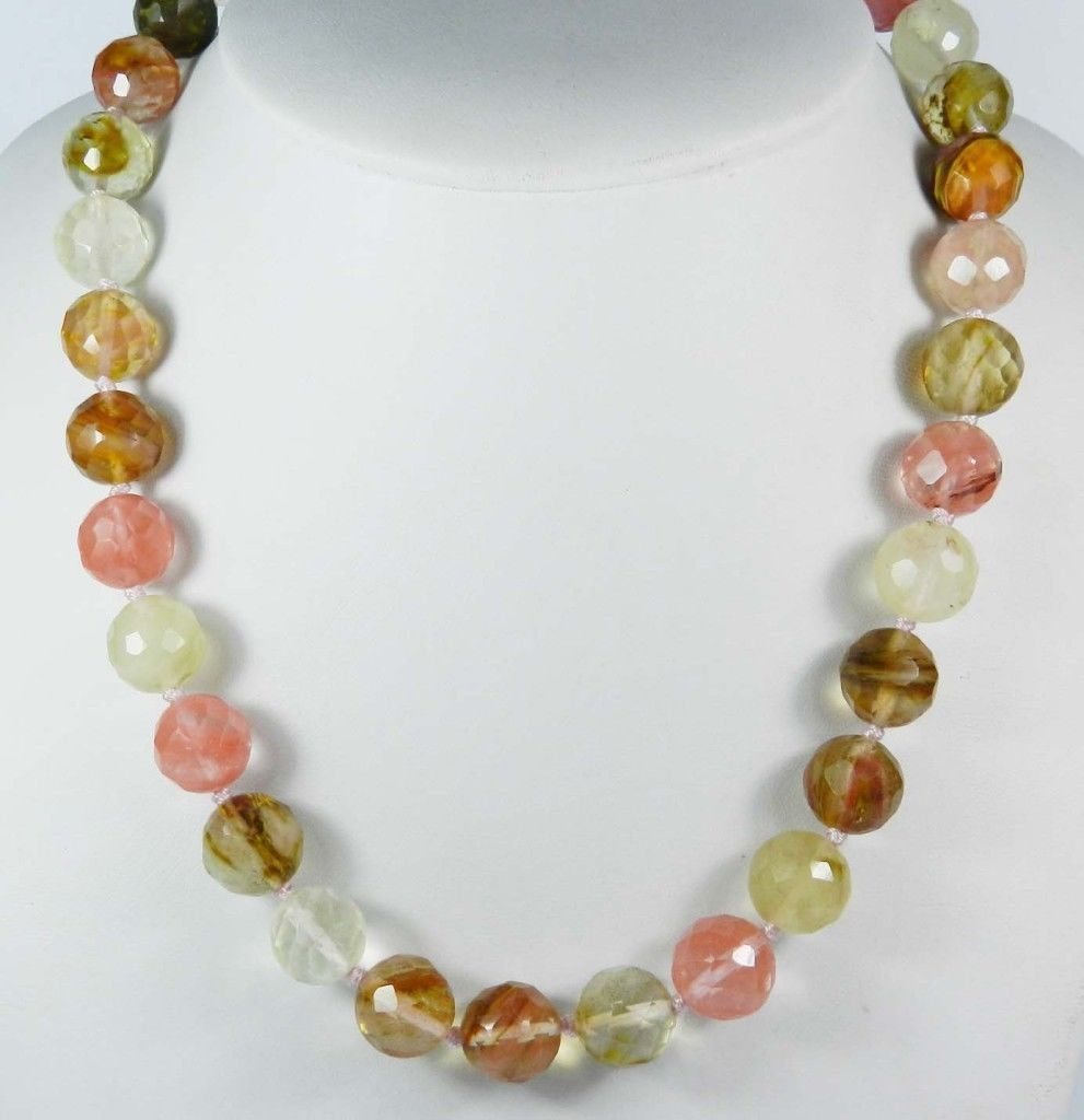 AAA 10mm Faceted <font><b>Watermelon</b></font> <font><b>Tourmaline</b></font> Round Beads Gems Necklace 18