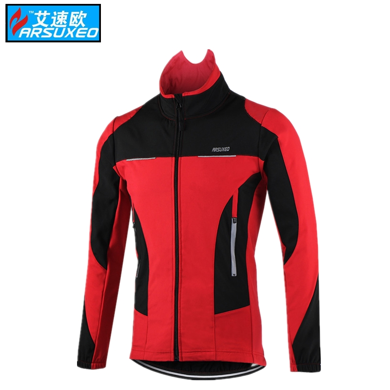 ARSUXEO Thermal motocross jersey Cycling Jacket Winter Warm Up Bicycle Clothing Windproof Waterproof Sports Coat MTB Bike Jersey
