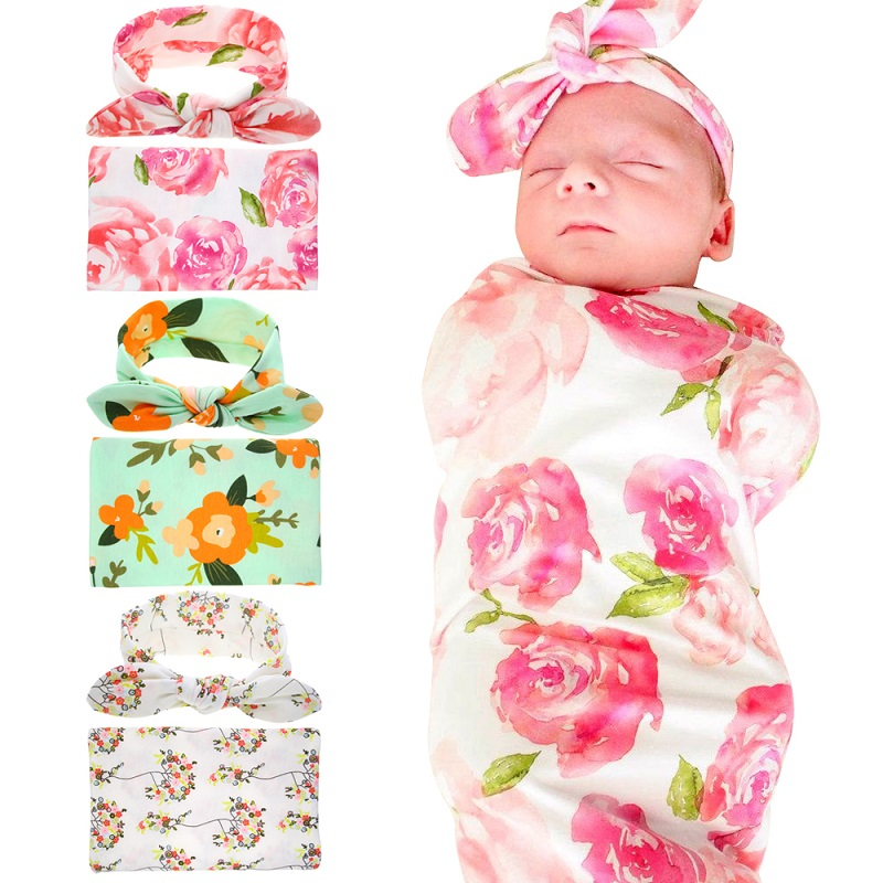Naturalwell Newborn Hospital Swaddled Set Swaddle & Headwrap Floral Swaddle Set Blanket Sleeping Bag Photo Prop 1set HB125