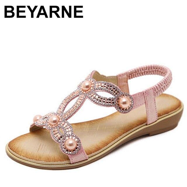BEYARNE avrupa moda sandalet çiçek boncuk kristal Rhinestone lüks elmas yüksek kaliteli bayan sandalet büyük boy