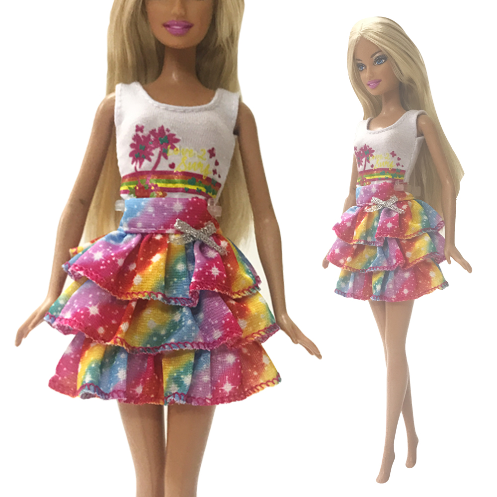 NK One Set Doll Clothes Pink Dress Beautiful Skirt Party Gown For Barbie Doll Accessories Maxiskit B030 Baby Toy DZ