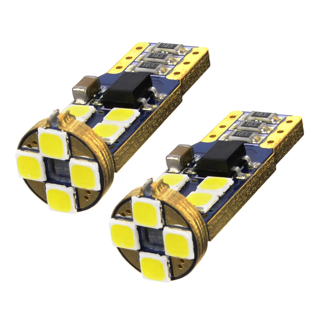 2pcs T10 LED Canbus 12 SMD 3030 Error Free W5W LED 168 194 for Car Interior Dome Map Door Courtesy License Plate Lights White