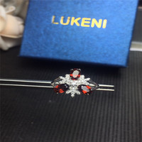 Genuine Red Garnet Solitaire Rings For Women Oval Cut Solid 925 Sterling Silver Charms Fashion Accessories