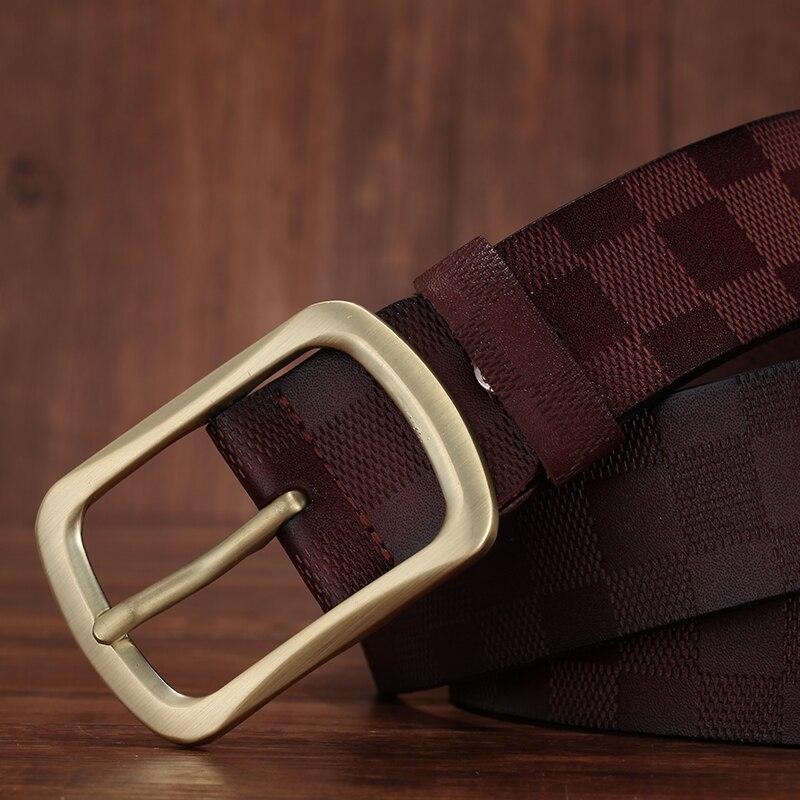 FURONG 2022 New Designer Belts For Men Luxury Cowhide Emboss Fashion Pin Buckle Belt Brown Genuine Leather Belts  Ceinture FR042