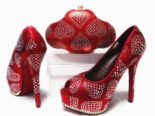 2017 Italian Style Shoes With Handmade Bag For Party African Woman High Heels Shoes And Bag Set For Wedding Red Colors JA10-4