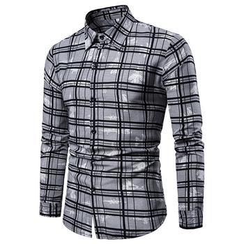 цены Plus size Lattice Plaid Long Mens Dress Shirts Grid Camisa masculina Men's Shirts Long sleeve Check Blouse Men New