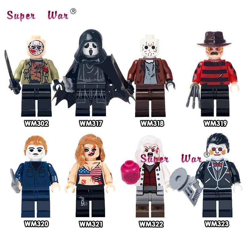 1PCS The Horror Theme Movie Hockey Guy Hockey Mask Hunter-Black Friday Jason Scream Killer Building Blocks Toys For Children