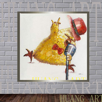S Modern Fashion Canvas Painting Cute Animal Art for Home Decor Party Decor Panda and pig concert Rock and Roll Chicken