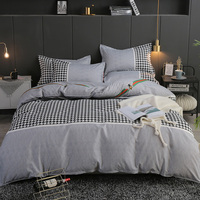 BEST.WENSD 2018 High grade cotton Quilt cover set Home Textiles Gray lattice beddings full size bedsheet set bed covers for mans