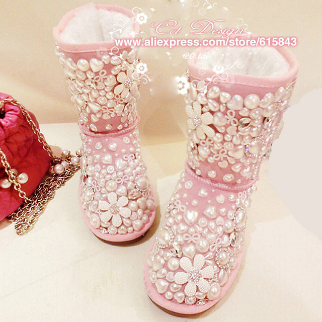 bf78c1e53df 2016 Women Boots Genuine Leather Plush Handmade Waterproof Pink Rhinestones  Pearls Winter Snow Boots Plus Size 42 43 Boots