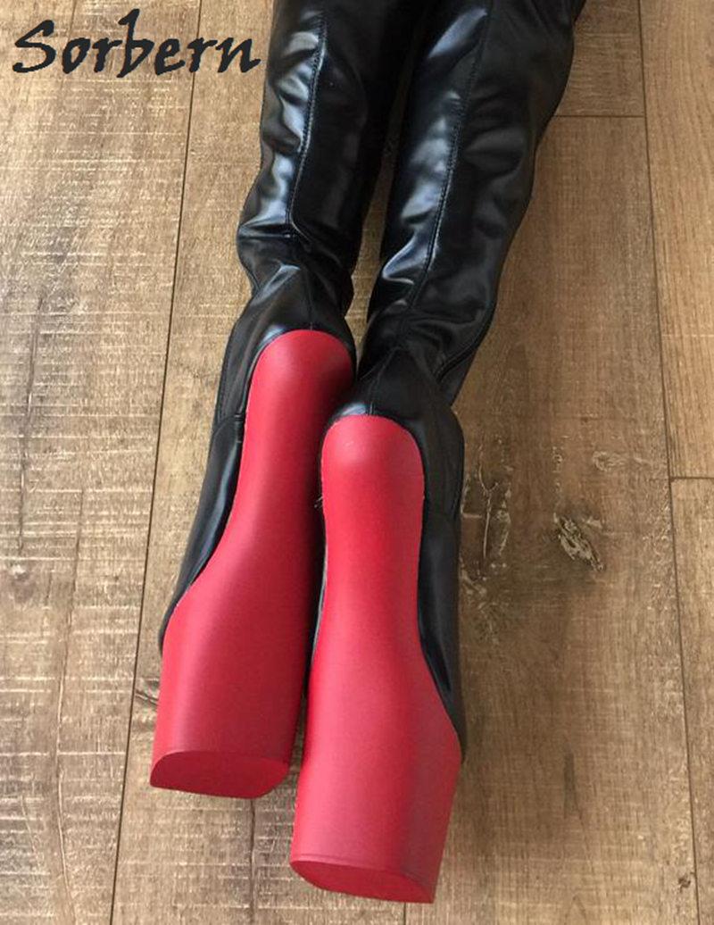 Sorbern Mate Extrema Muslo Entrepierna Negro Larga Color Señora Casco Alta custom De Sin Botas Tacones Negro Zapatos Rojo Tacón Tamaño Luz La Del Roja Bota Plus Mujeres rqrxU5