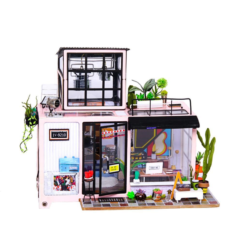 2018 bricolage cabine Miniature salle de travail Simulation maison de poupée enfants créatif à la main jouet maison avec lumière exquise décoration