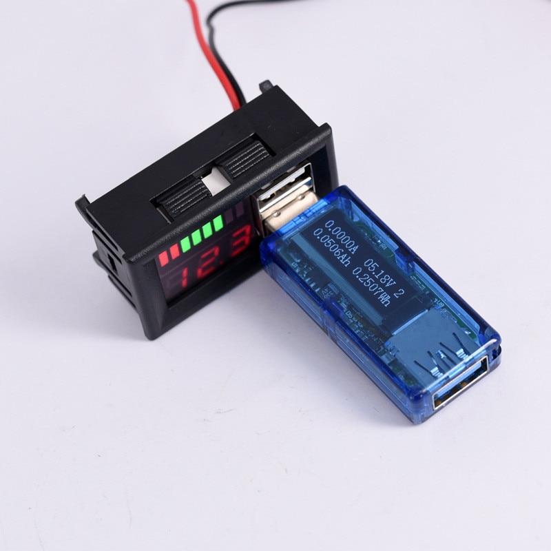 Batterie au plomb 12V 5V 2A   Multifonctionnel, batterie au plomb, indicateur de capacité, compteur de tension de voiture, lecteur de tension, double chargeur USB