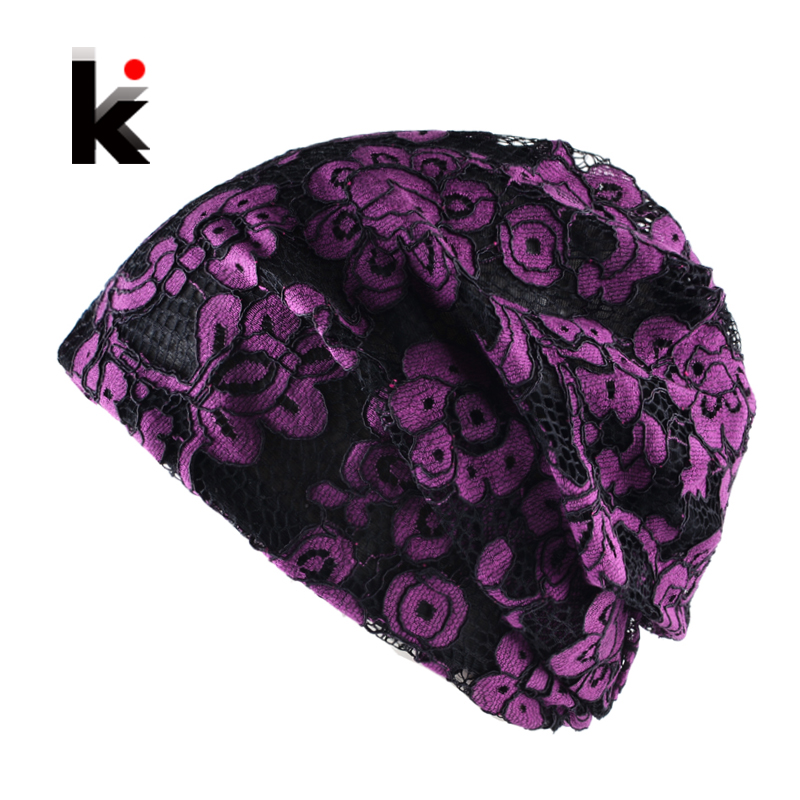 Spring Autumn Casual Turban Bonnet Caps Women Fashion Lace Flower Thin Beanies Hat For Ladies Sckullies E Gorros Mulheres Beanie imucci 13 colors solid muslim turban cap women elastic beanies hat bandanas big satin bonnet indian women turban black red