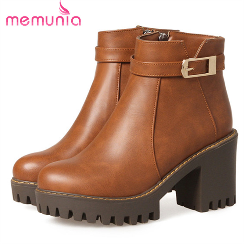 MEMUNIA Spring autumn ankle boots for women fashion shoes high heels boots female platform boots zip PU solid big size 34-44 memunia 2017 fashion flock spring autumn single shoes women flats shoes solid pointed toe college style big size 34 47