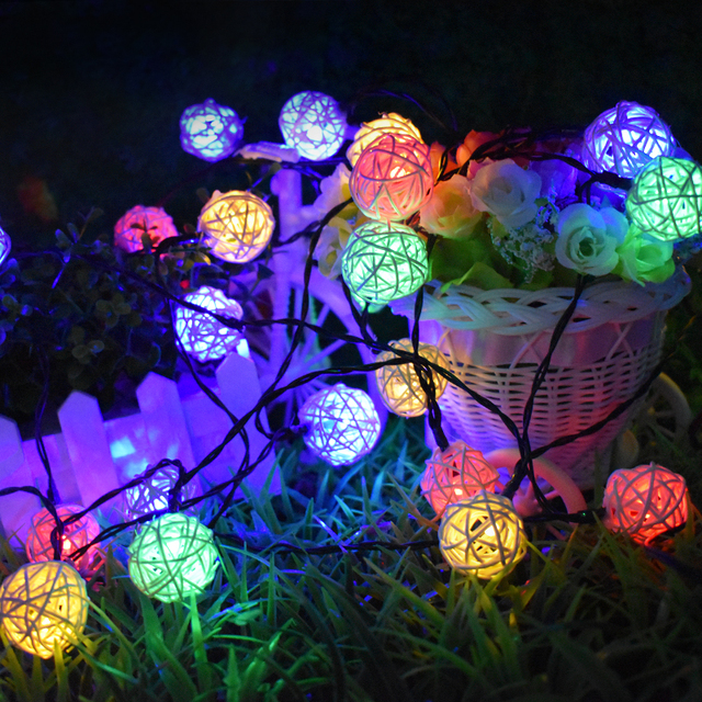 Solar String Lights 20ft 30 Led Multi Color Rattan Globe Decorative Lighting For Outdoor Home Garden Patio Party