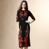2016 Summer runway designer clothes for women's high quality Black Floral Embroidered Lace Dress