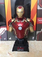 Marvel Iron Man Mark XLIII 43 Bust Pre painted Model Kit with LED Light PVC Action Figure Model Toy