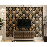 Luxury Thickening Embossed Relief 3D Wallpaper Damascus Living Room TV Backdrop Wallpaper XH8Z