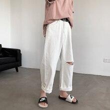 Summer New Pants Men Fashion Solid Color Straight Torn Hole Nine Pants Man Streetwear Wild Hip Hop Loose Casual Pants M-2XL
