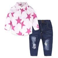 Otoño de La Manera de Las Muchachas Del Niño Establece Estrella Camisa de Manga Larga Y pantalones de Mezclilla Niños Niñas Trajes Trajes Niños Ropa Boutique