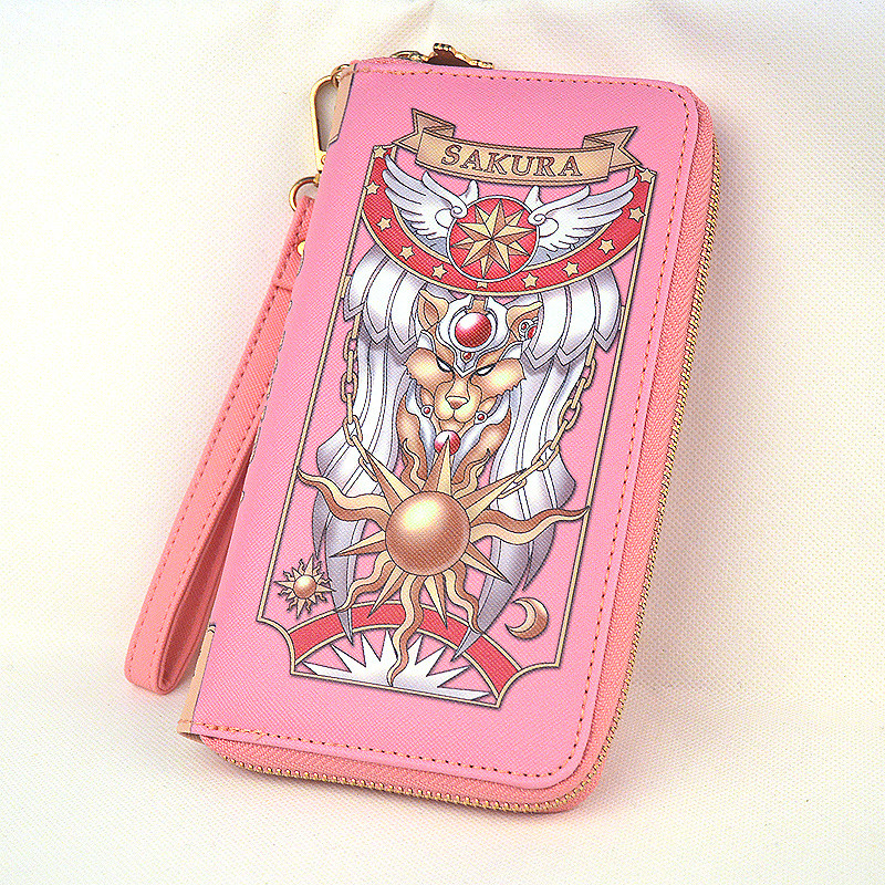 New Arrival Cosplay Anime Card Captor Card Captor KINOMOTO Sakura PU Leather Zipper Long Bag Purse Wallet